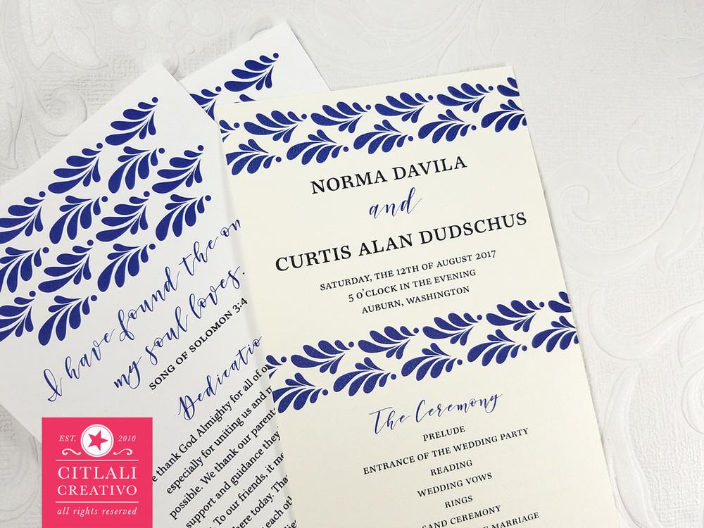 talavera wedding program spanish