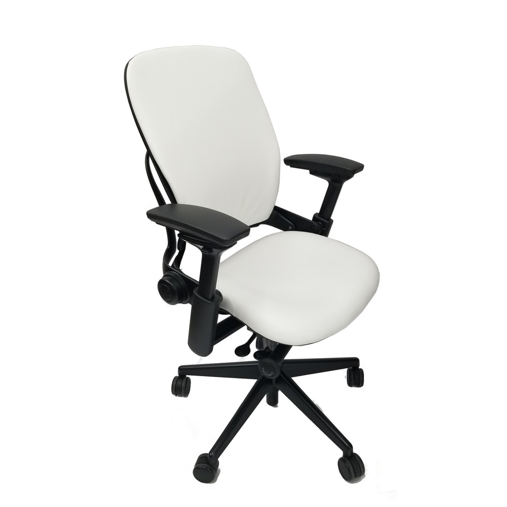 steelcase leap chair steel easy with cloth v2 in white leather
