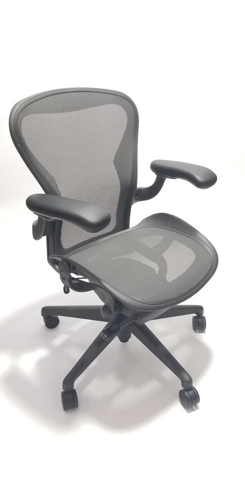 white aeron chair lawn chairs for sale herman miller v2 fully loaded lumbar support open box with adjustable arms