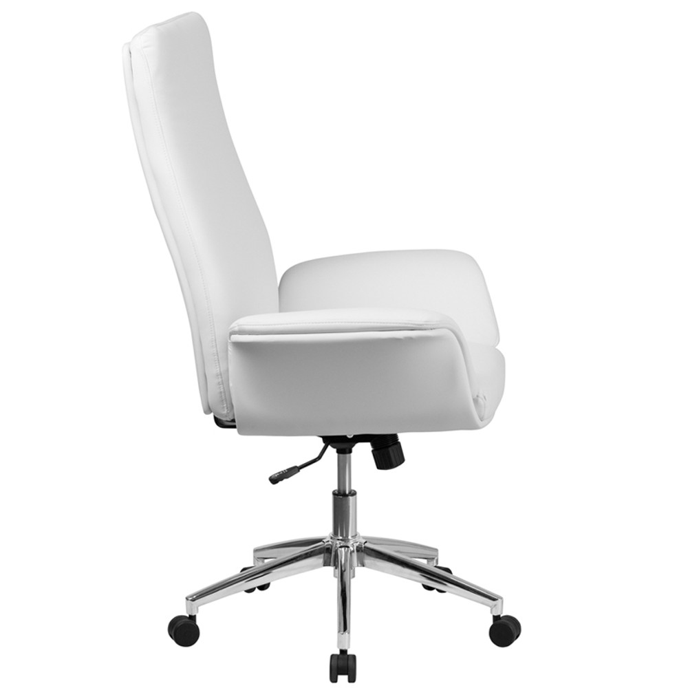 white leather swivel desk chair baby doll high chairs flow back executive office with flared arms by lemoderno