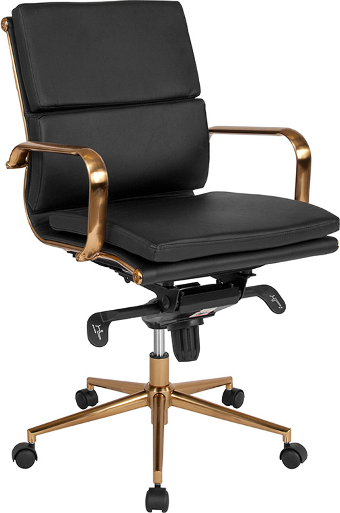 office chair gold ashley furniture and ottoman so mid back black leather executive swivel with frame by lemoderno