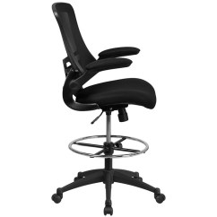 Mesh Drafting Chair Heated Office Flash Furniture Mid Back Black With Adjustable Foot Ring And Flip