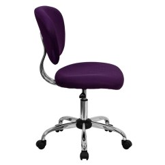 Purple Task Chair Tufted Blue Dining Chairs Flash Furniture Mid Back Mesh Swivel With Chrome Base