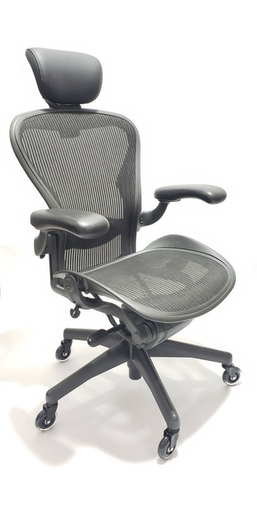 office chair herman miller slip covers for chairs affordable new refurbished desk aeron fully featured size b gray free headrest rollerblade casters