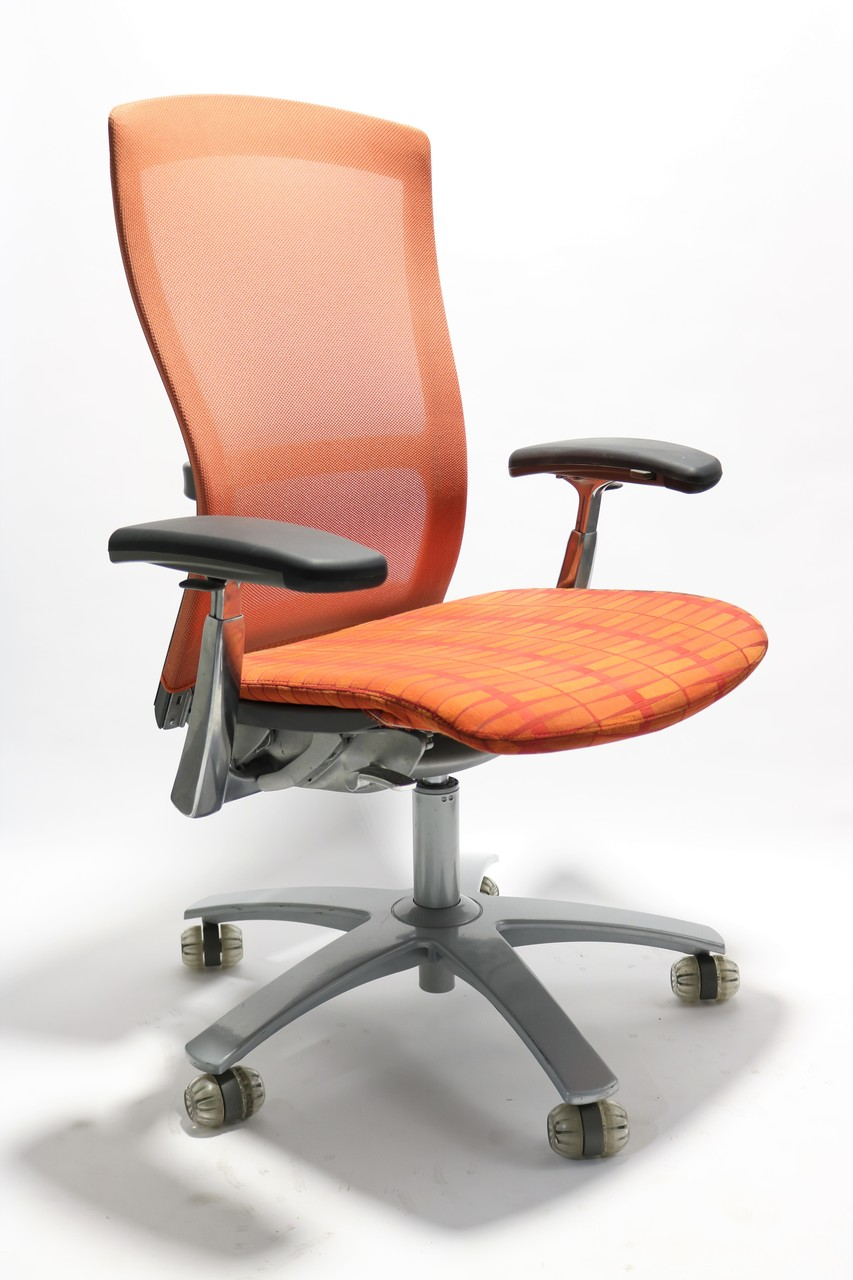 Orange Office Chairs Life Chair By Knoll Fully Adjustable Model Orange Seat And Mesh Back