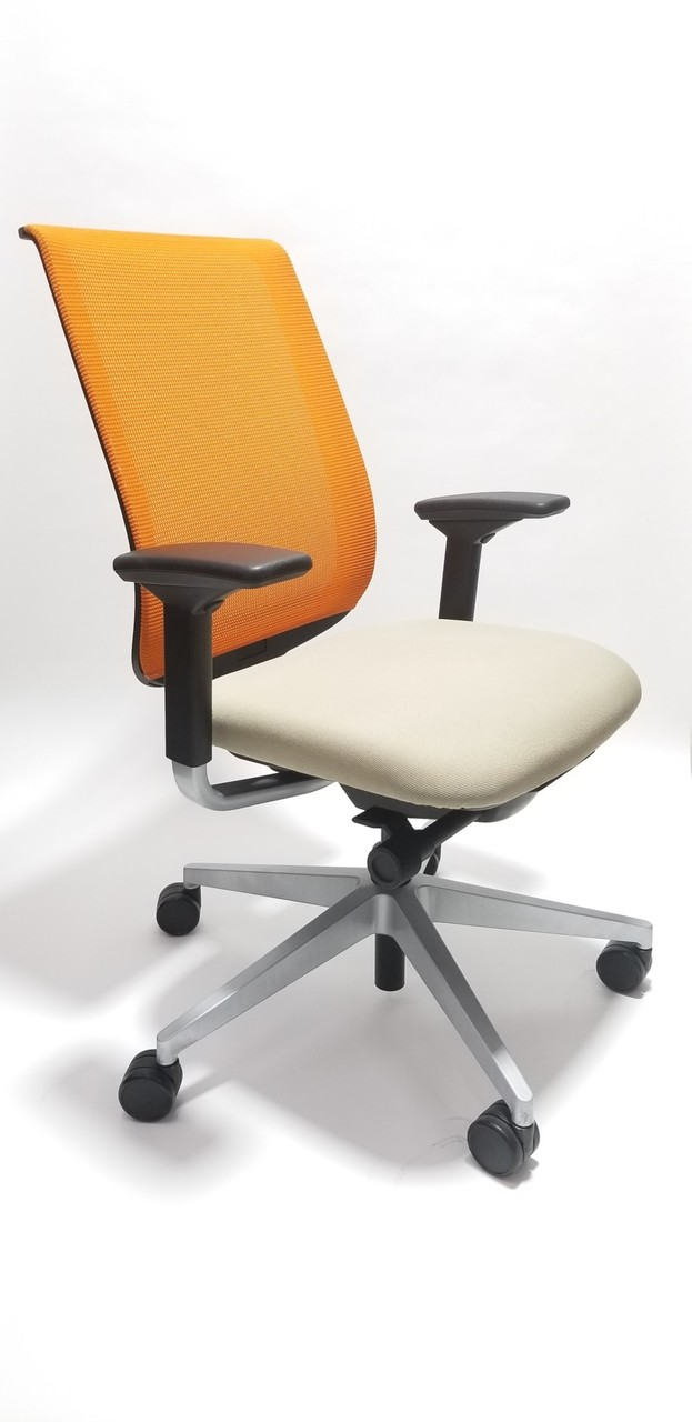 Orange Office Chairs Steelcase Orange Mesh Back Reply Chair With Beige Fabric Seat