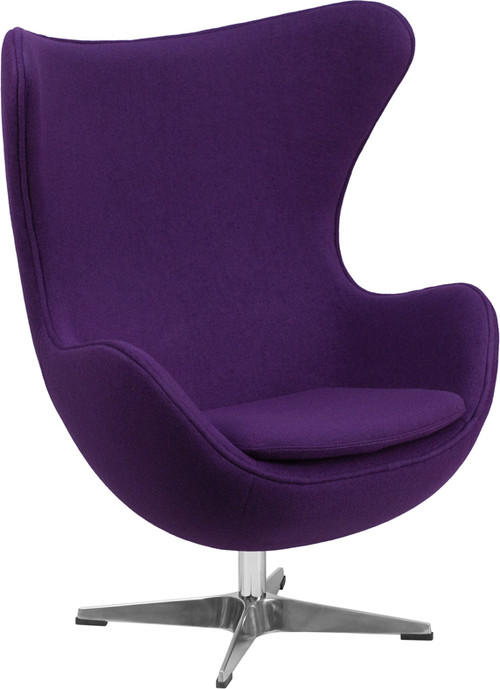 Purple Wool Fabric Egg Chair with TiltLock Mechanism by