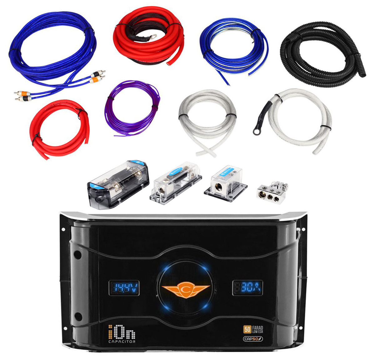small resolution of rockville rda0 4k 0 4 gauge dual amp install kit cap50f 50 farad dual amp wiring kit with capacitor