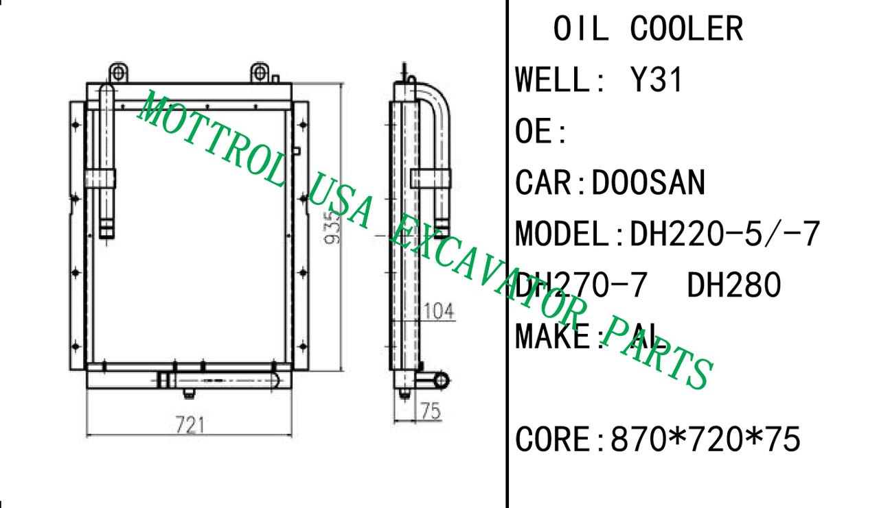 new hydraulic oil cooler for daewoo dh220 5 excavator mottrol daewoo 220 s hydralic diagram [ 1280 x 741 Pixel ]
