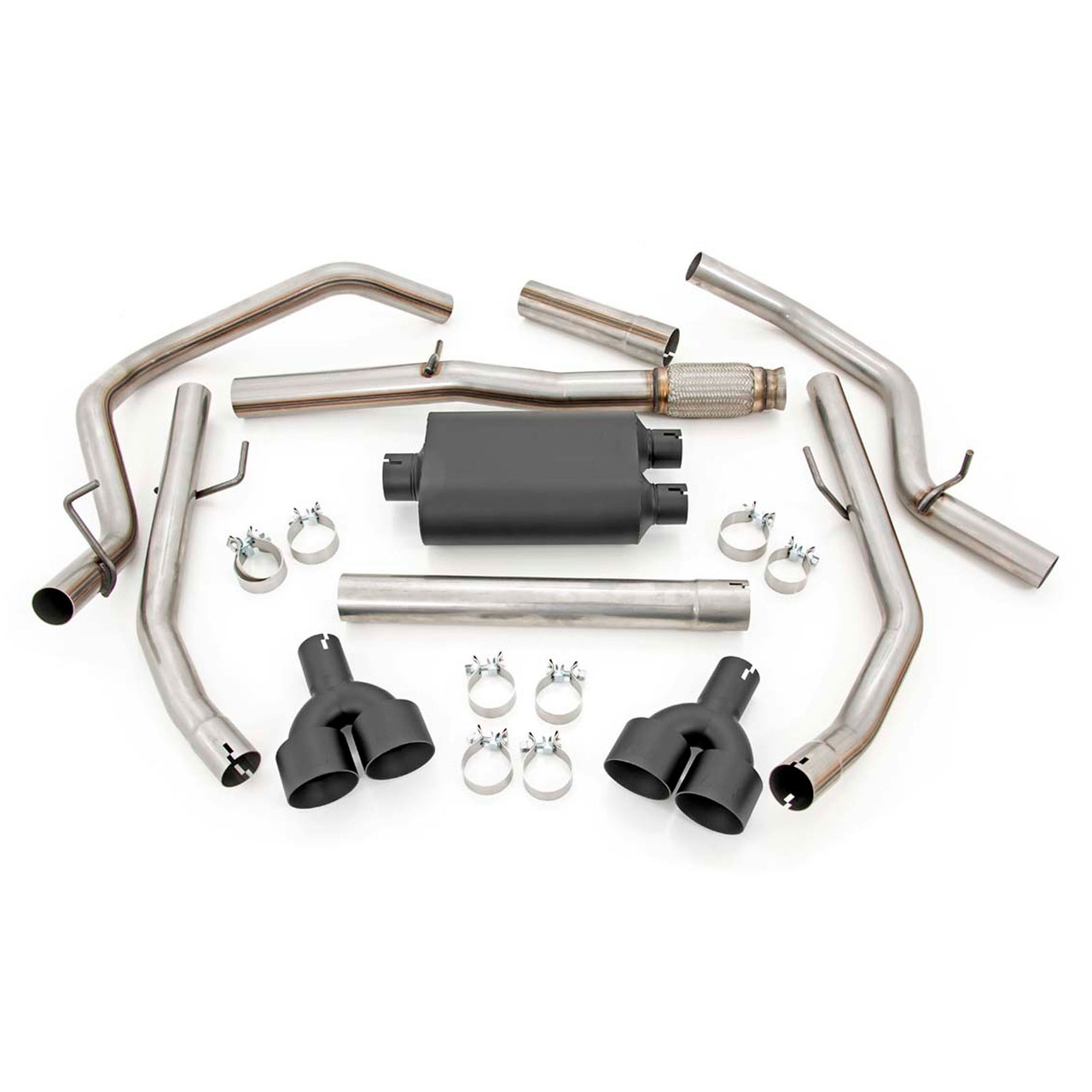 2019 2021 chevy silverado 1500 5 3l dual cat back exhaust system with black tips