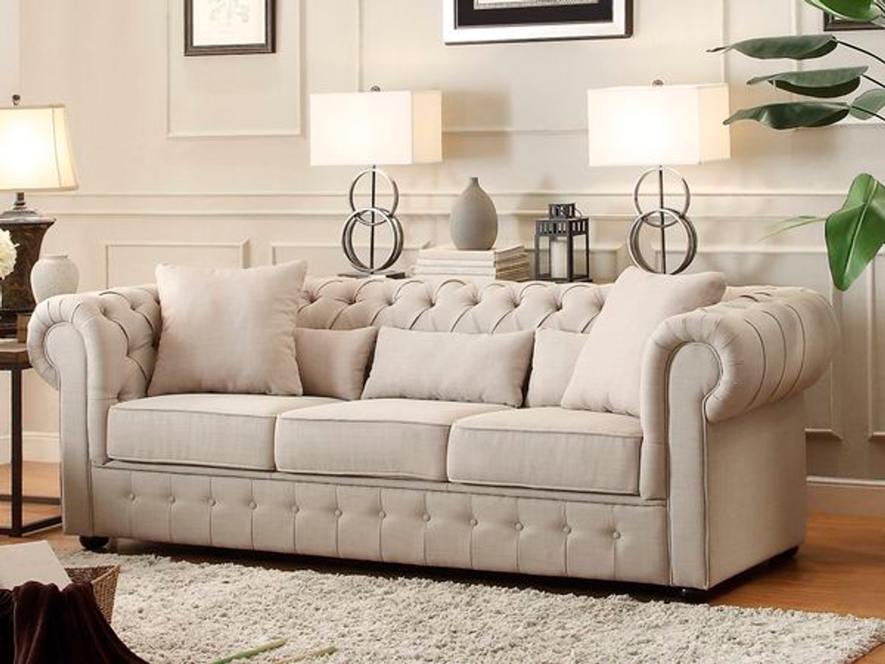 chesterfield sofa material living room furniture sleeper homelegance grand upholstered button tufted fabric 8427 3 in