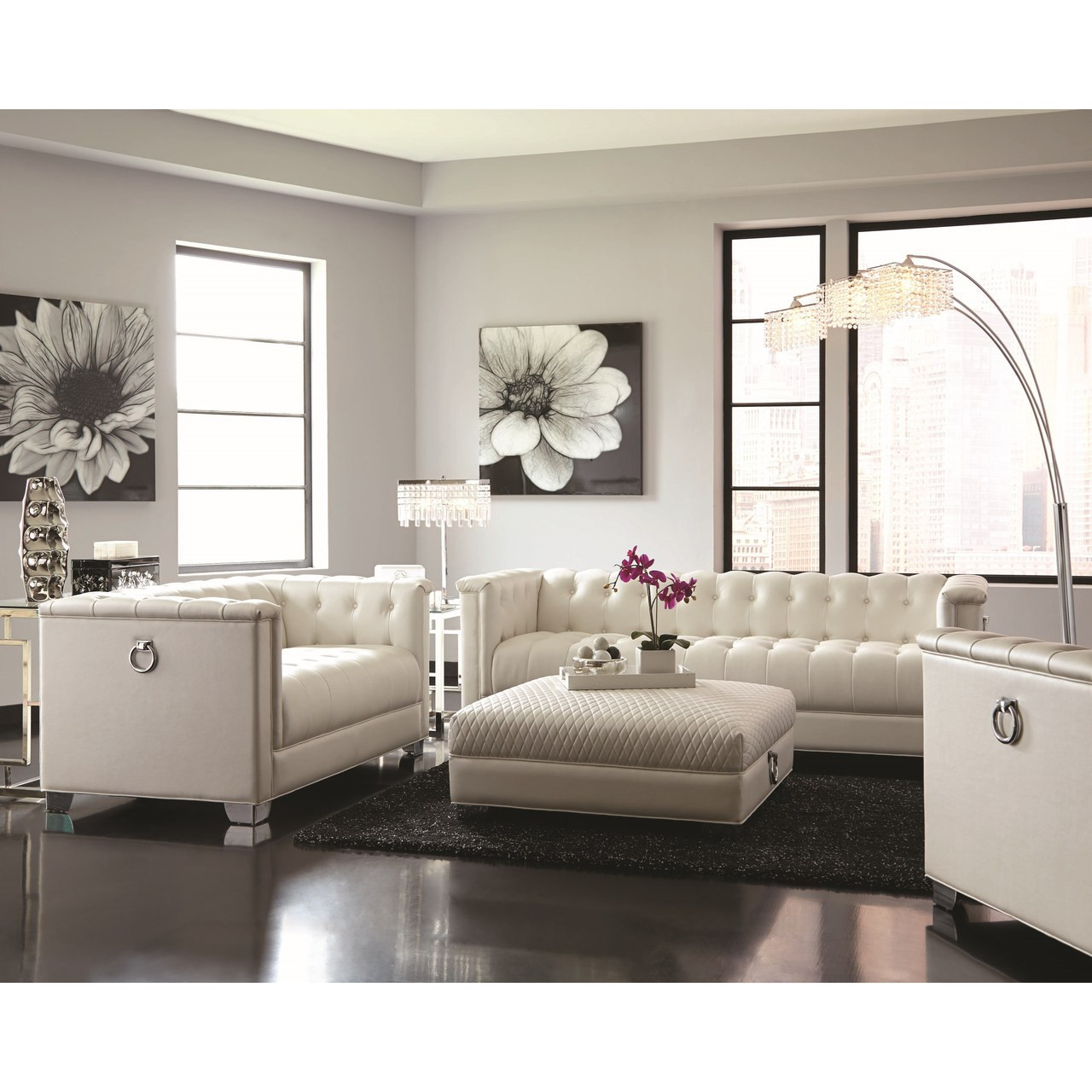 white tufted chair chairs for kids room coaster milan button in pearl dealbeds com 505393