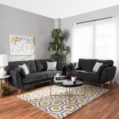 Dark Grey Laminate Flooring Living Room 2 Cabinet Ideas Baxton Studio Miranda Mid Century Modern Fabric Upholstered Piece Set Dealbeds Com