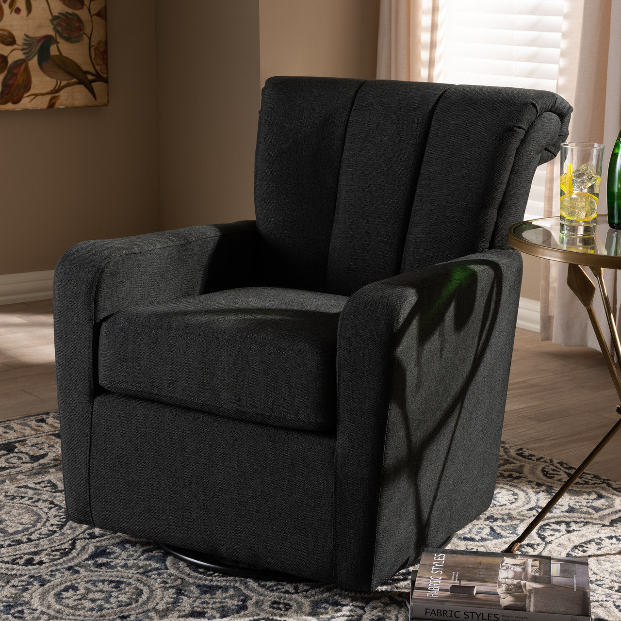 Upholstered Swivel Chairs Baxton Studio Rayner Modern And Contemporary Gray Fabric Upholstered Swivel Chair