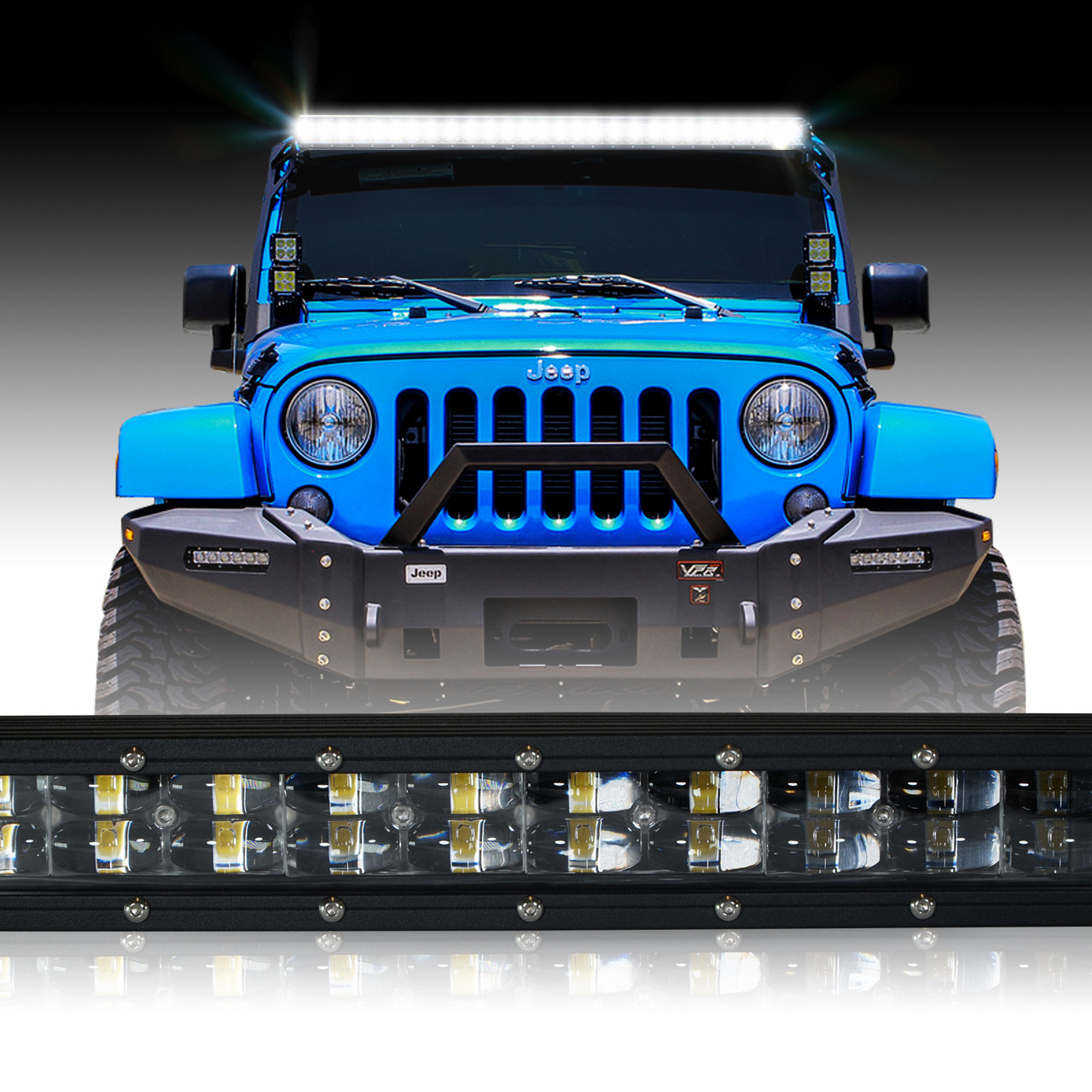 led light bar 288w 50 inches bracket wiring harness kit for wrangler jk 2007 2017 [ 1280 x 1280 Pixel ]