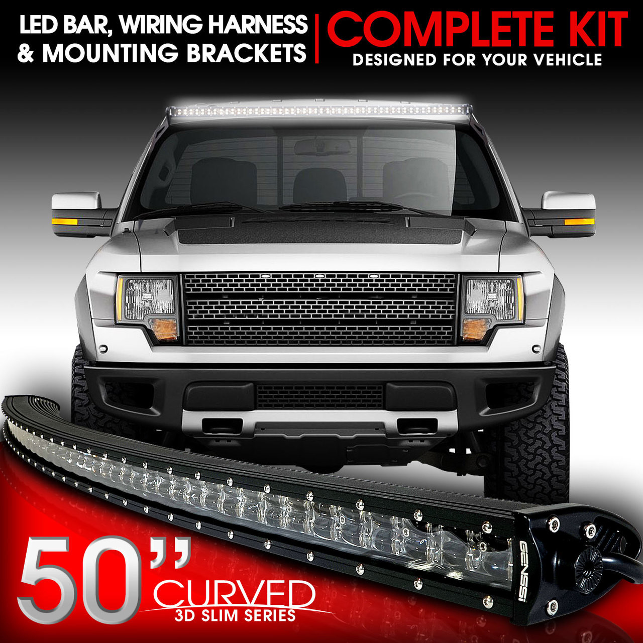 medium resolution of led light bar curved 288w 50 inches bracket wiring harness kit for ford f150 svt