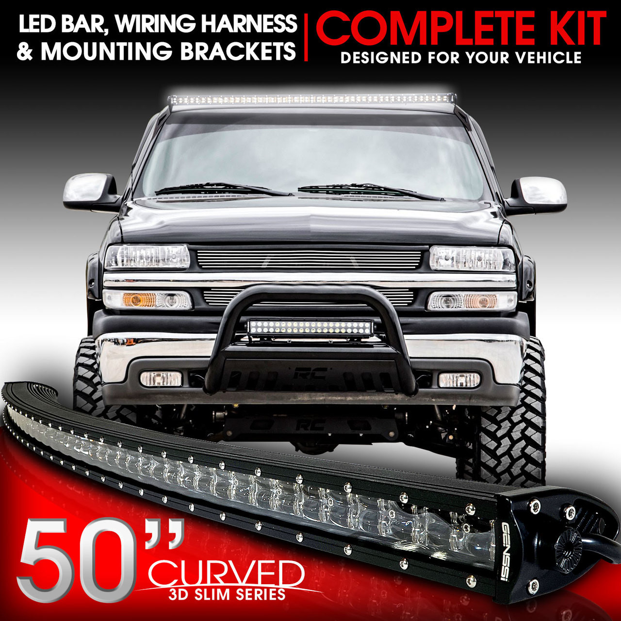medium resolution of led light bar curved 288w 50 inches bracket wiring harness kit for 2006 silverado light wiring harness