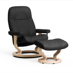 Stressless Chair Sizes Covers For A Wedding Medium Garda Recliner And Ottoman Ekornes Classic Base Black Paloma Leather With Natural Stained Wood