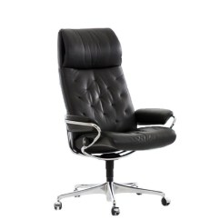 Black Leather Office Chair High Back Best Company Stressless Metro Option Shown In