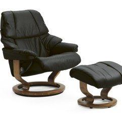 Recliner Vs Chair With Ottoman Jazzy Motorized Ekornes Stressless Reno Large Vegas Pain Free Nationwide Black Paloma And Teak Wood Stresless