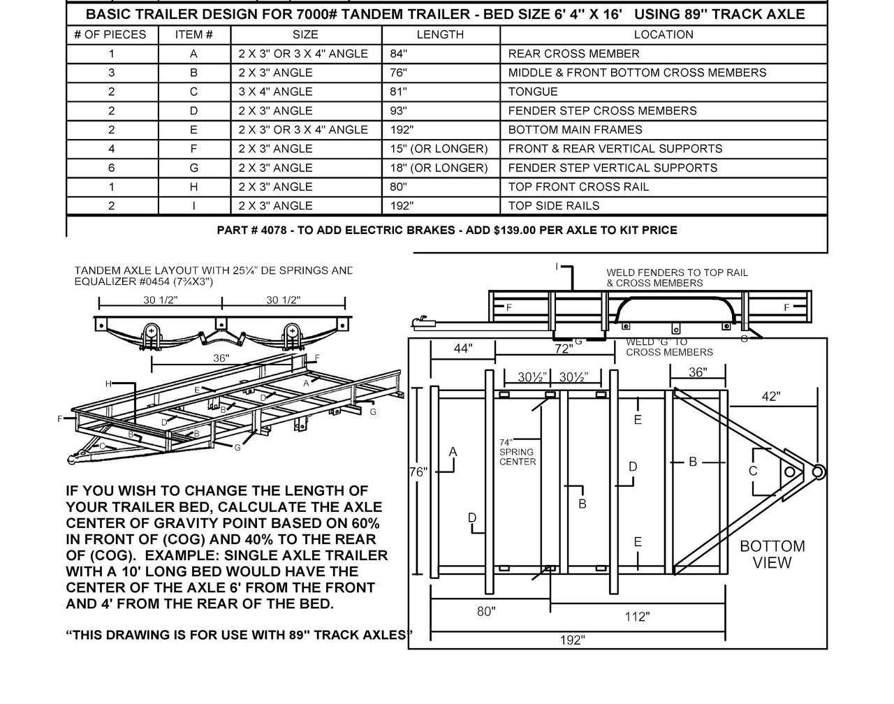 hight resolution of build your own utility trailer with champion trailers complete tandem axle utility trailer diagram