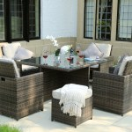 9 Pieces Patio Wicker Rattan Dining Sets With Cushion Seating And Back Sectional Conversation Set