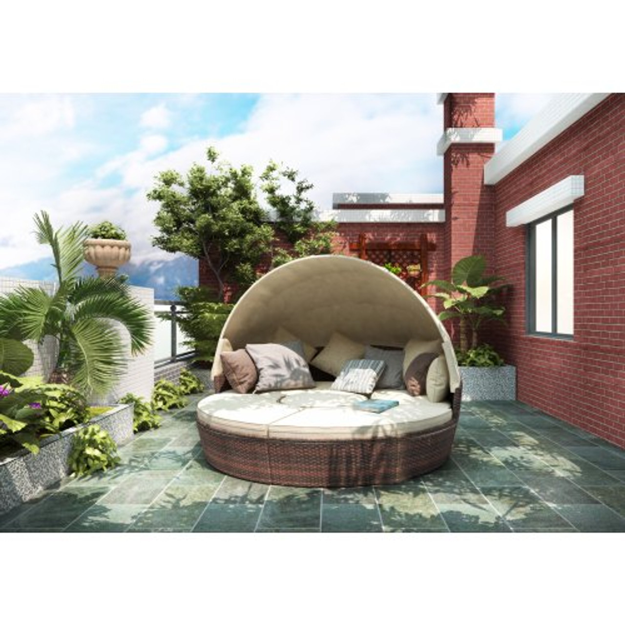 topmax patio furniture round outdoor sectional sofa set rattan daybed sunbed with retractable canopy separate seating and removable cushion beige