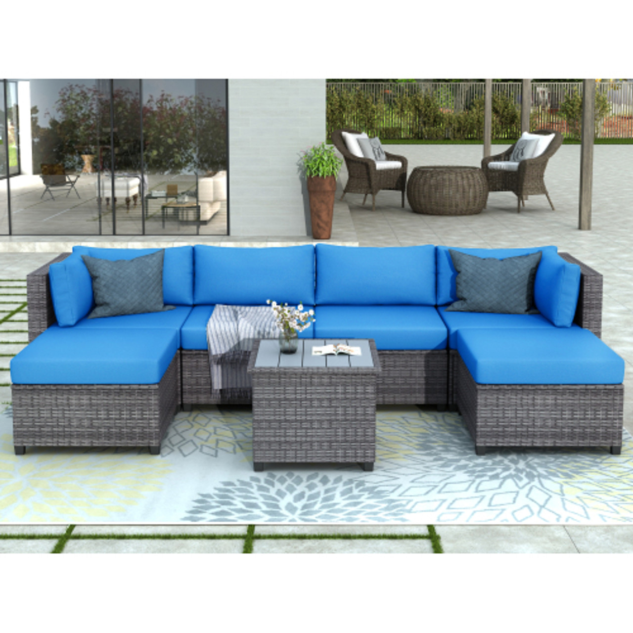 u style 7 piece rattan sectional seating group with cushions outdoor ratten sofa new