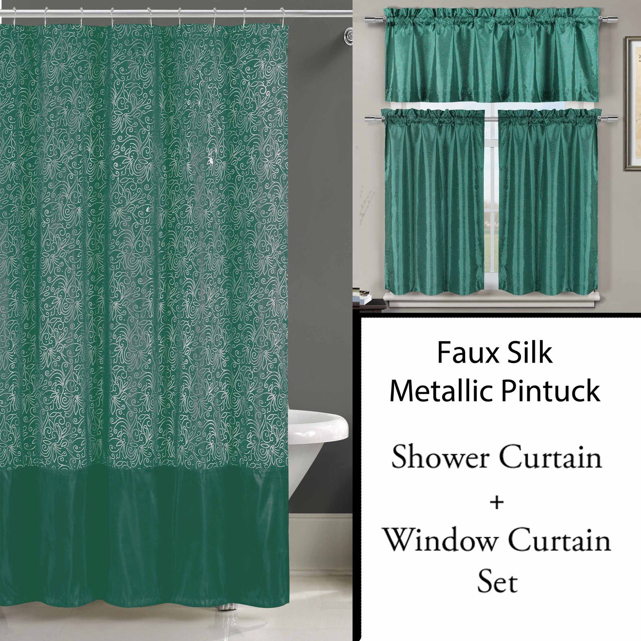 teal shower curtain and 3 pc window curtain set metallic raised pin dots abstract floral design