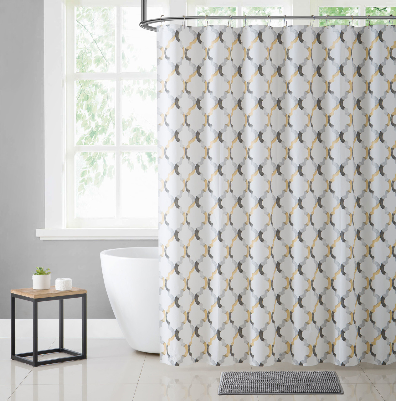white yellow and gray moroccan tile design peva shower curtain liner odorless pvc and chlorine free biodegradable mildew free eco friendly size