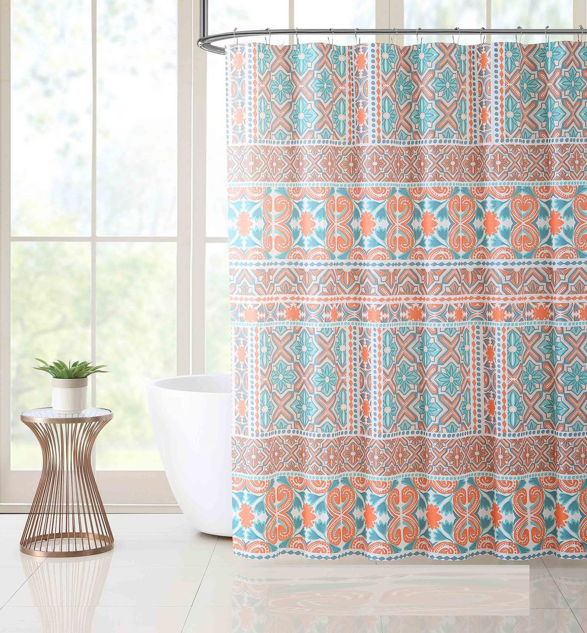 coral and brown shower curtain cheaper