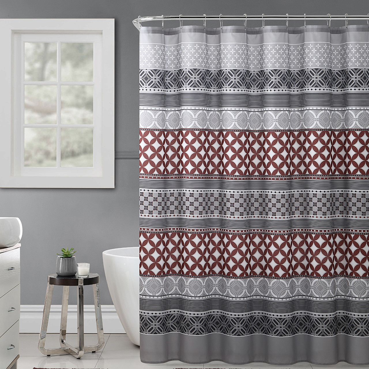 gray rust and black fabric shower curtain with printed trendy eclectic geometrical design 72 x 72