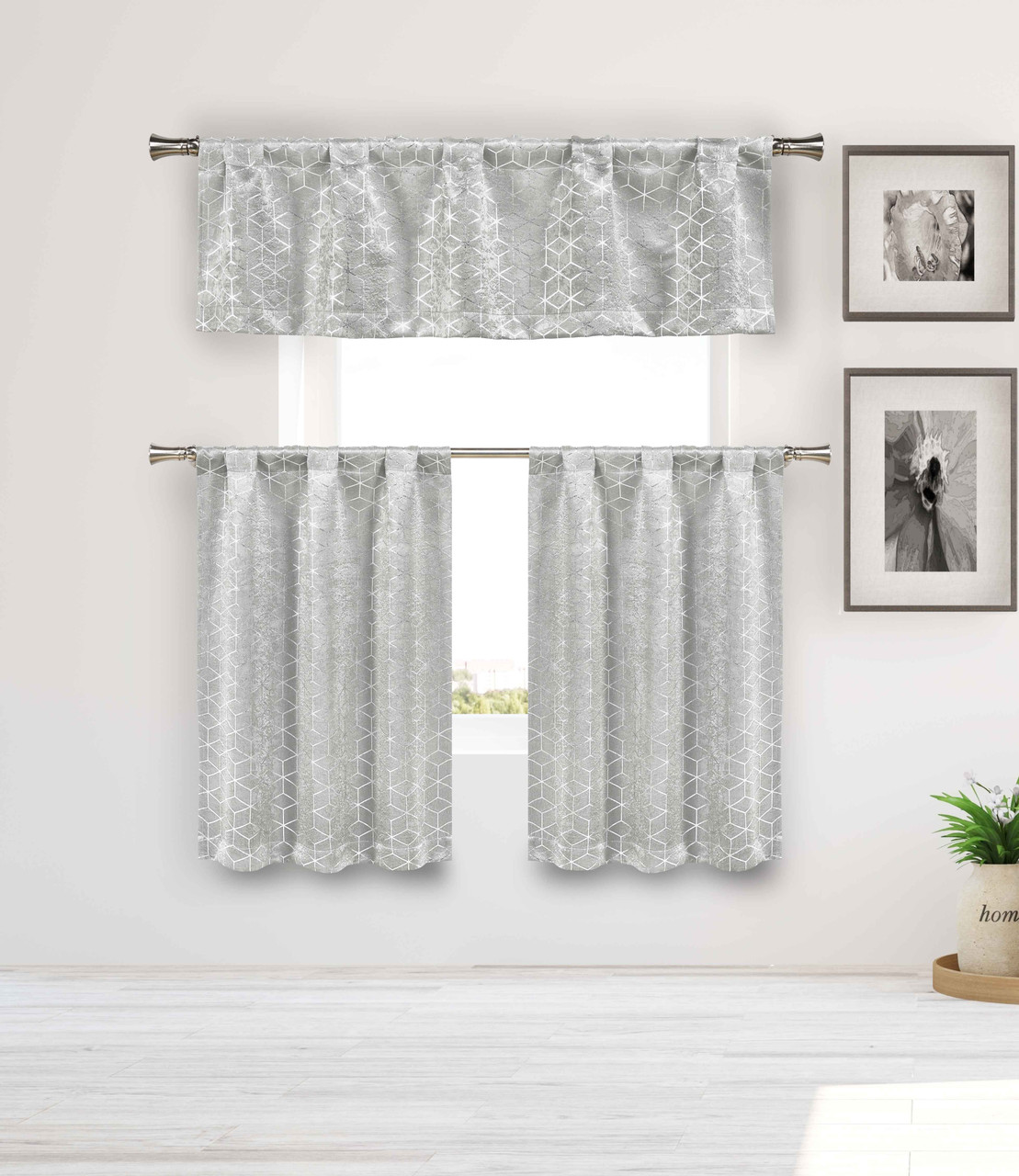 blackout privacy gray 3 piece window curtain set with silver metallic cube design one valance two tiers 36 in long kitchen bathroom small window