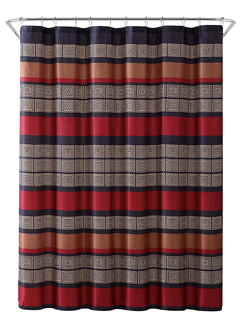 Burgundy Black Copper And Beige Fabric Shower Curtain Wide Stripe Design 70 X 72 My Infinity Store