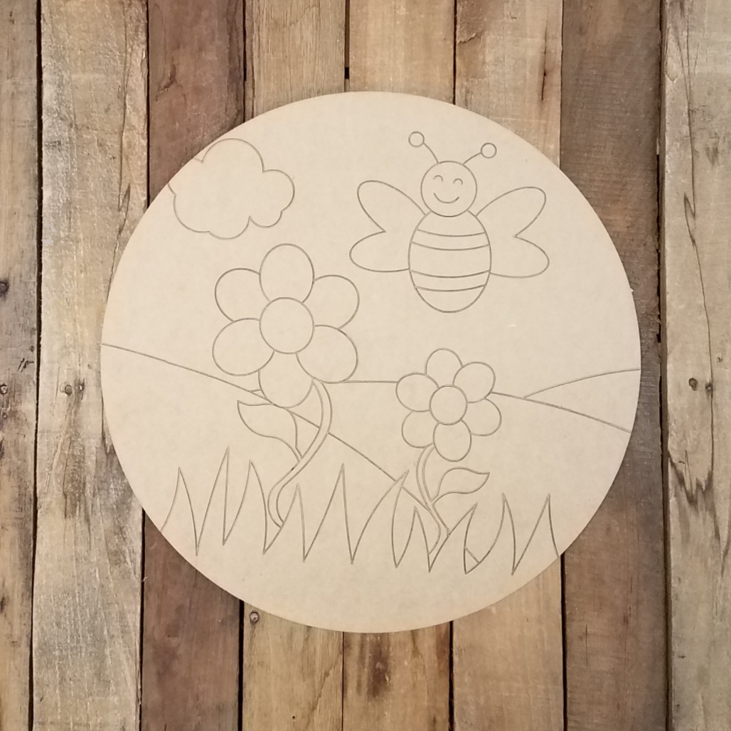 Happy Honey Bee Circle Plaque Wood Shape Paint By Line Build A Cross Com