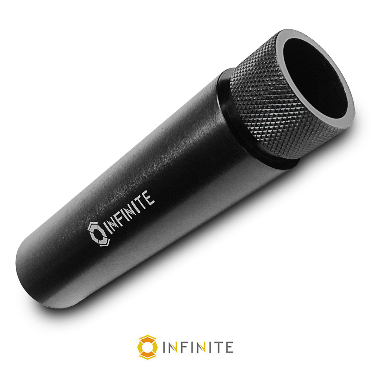 hight resolution of 1 2 28 fake suppressor w knurled end black aluminum infinite product solutions