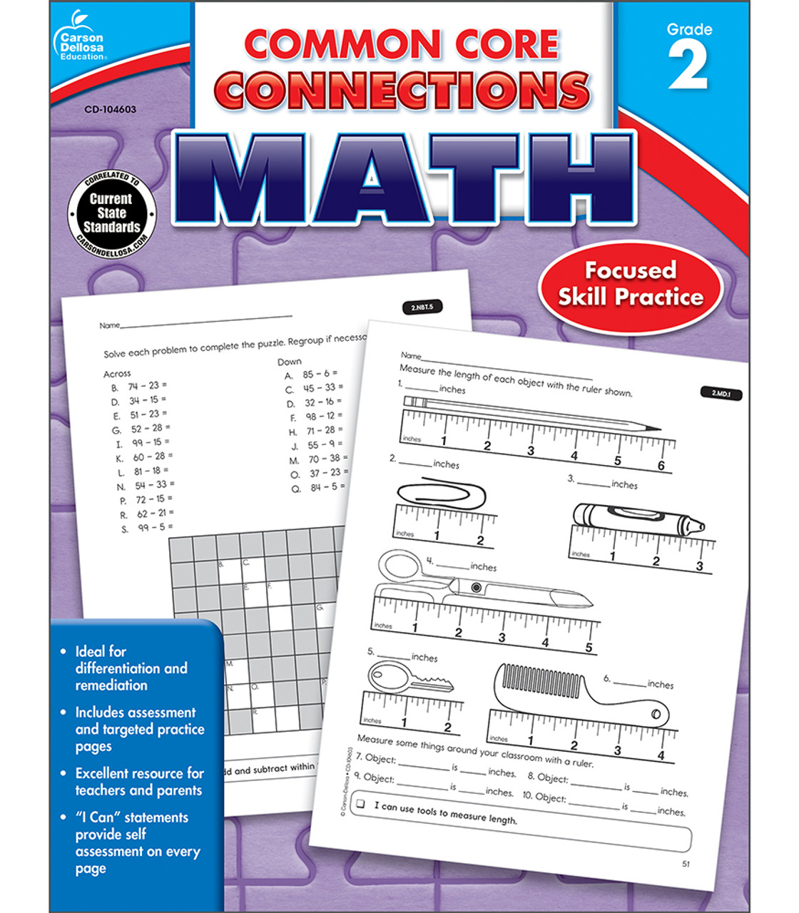 small resolution of Common Core Connections Math Workbook Grade 2 Paperback