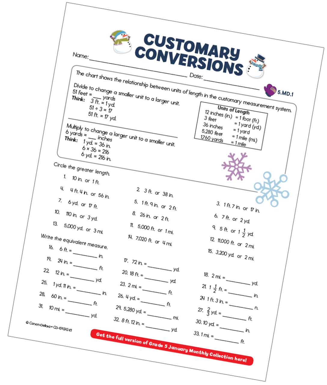 Customary Conversions (Measurement) Free Printable - Carson Dellosa  Education [ 1280 x 1088 Pixel ]