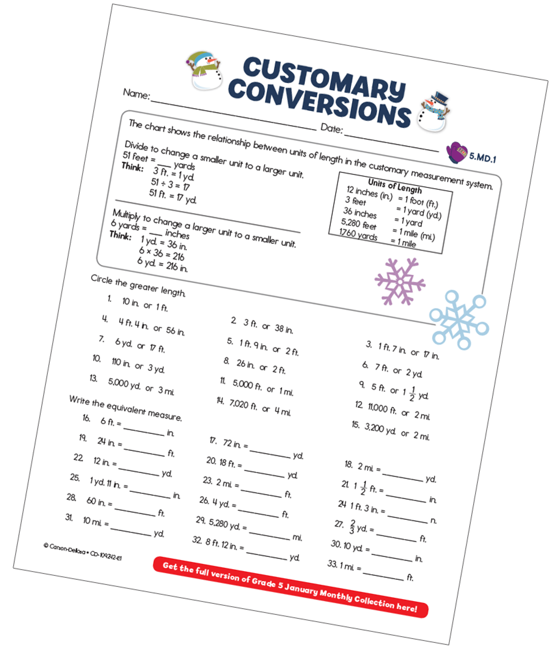 small resolution of Customary Conversions (Measurement) Free Printable - Carson Dellosa  Education