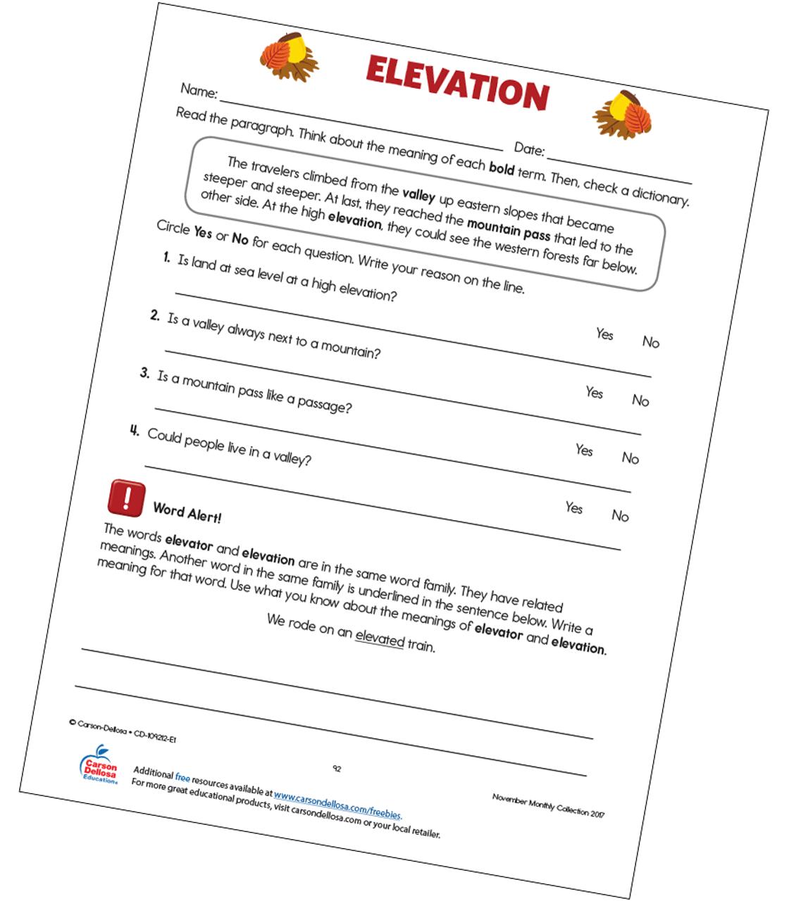 Elevation Free Printable   Carson Dellosa [ 1280 x 1120 Pixel ]