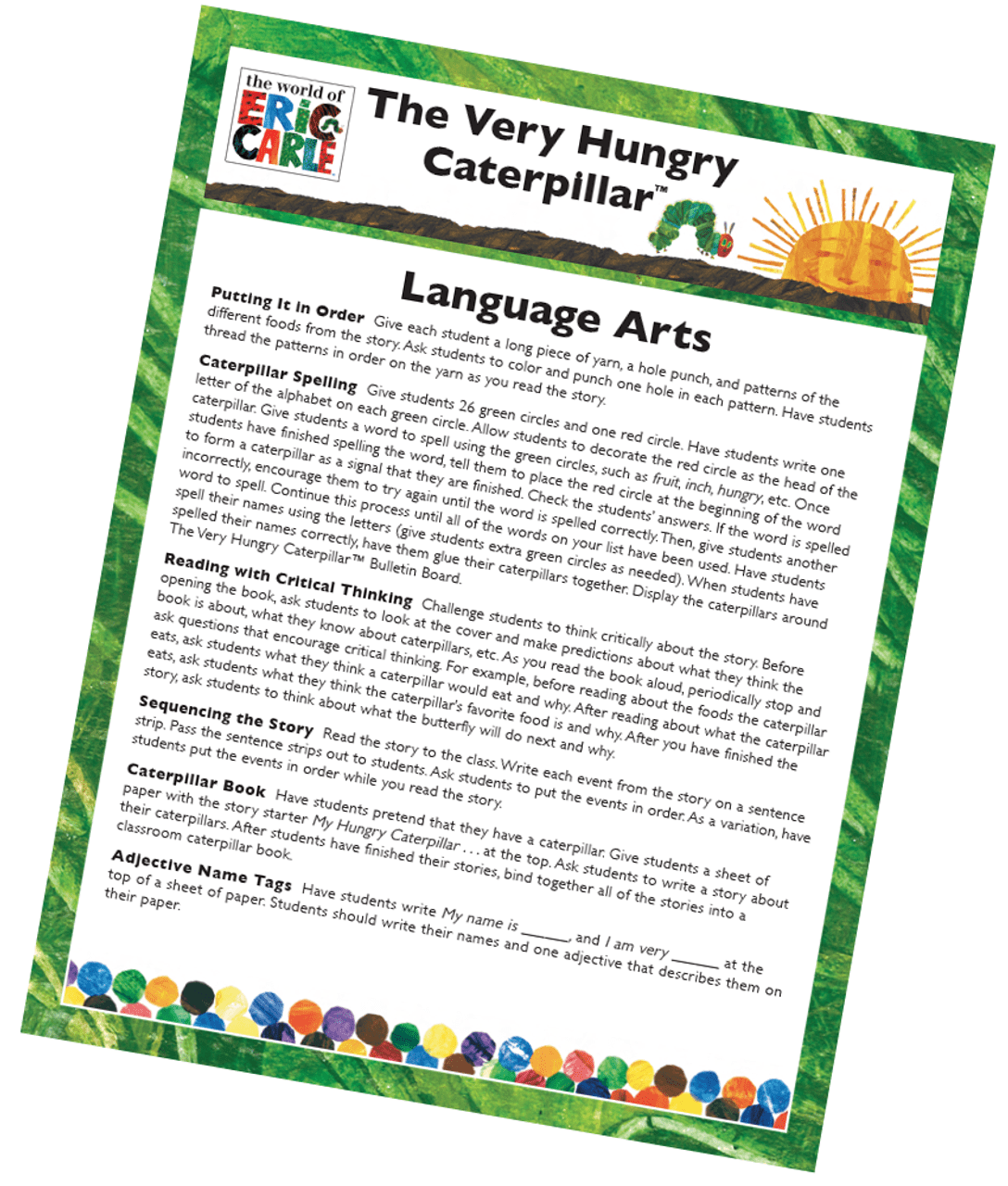 small resolution of The Very Hungry Caterpillar Language Arts Activity Free Printable   Carson  Dellosa