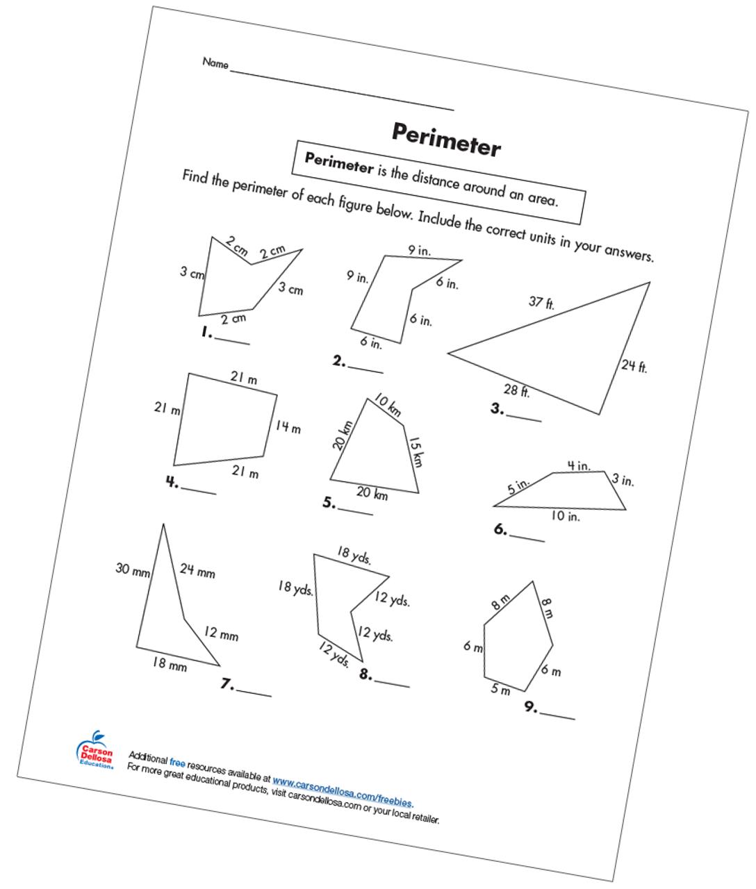Perimeter Grade 3 Free Printable - Carson Dellosa Education [ 1280 x 1088 Pixel ]