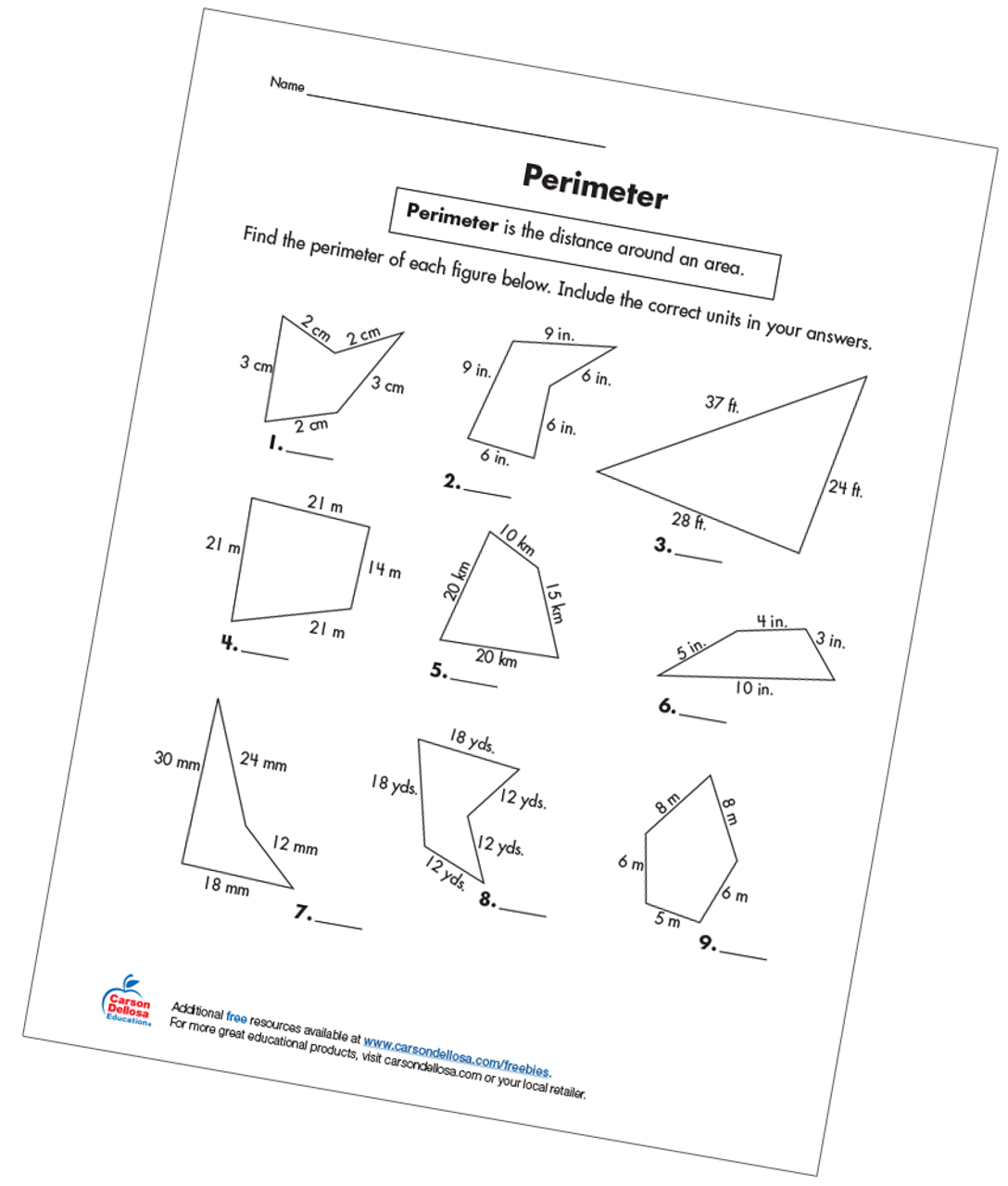 small resolution of Perimeter Grade 3 Free Printable - Carson Dellosa Education