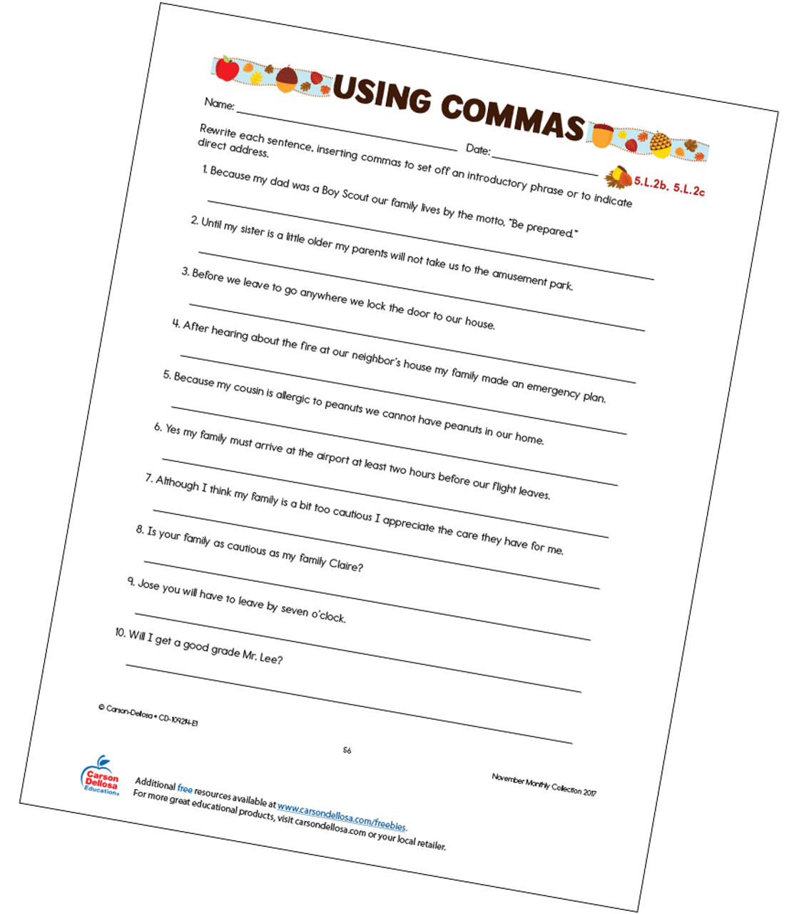 hight resolution of Using Commas Free Printable   Carson Dellosa