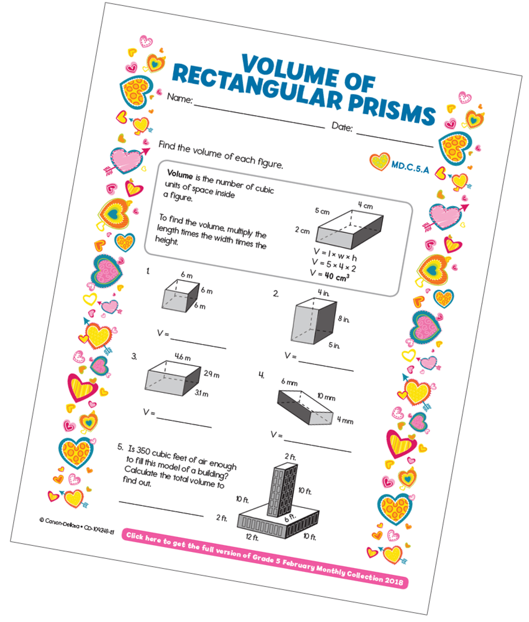 hight resolution of Volume of Rectangular Prisms Free Printable   Carson Dellosa