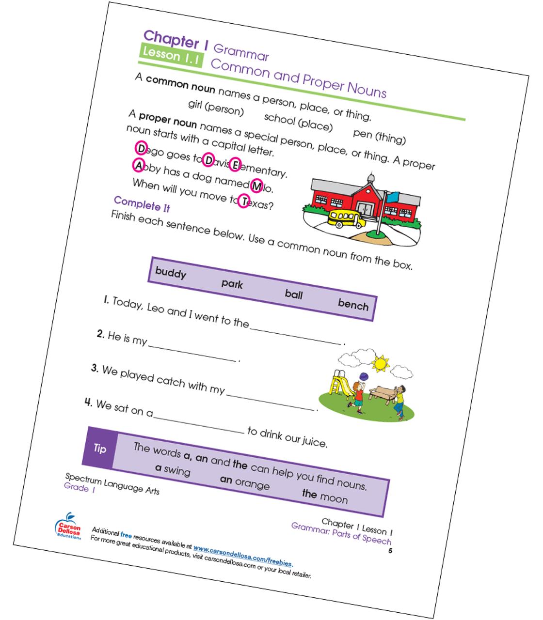 Common and Proper Noun Fill-in-the-Blanks Grade 1 Free Printable   Carson  Dellosa [ 1280 x 1120 Pixel ]