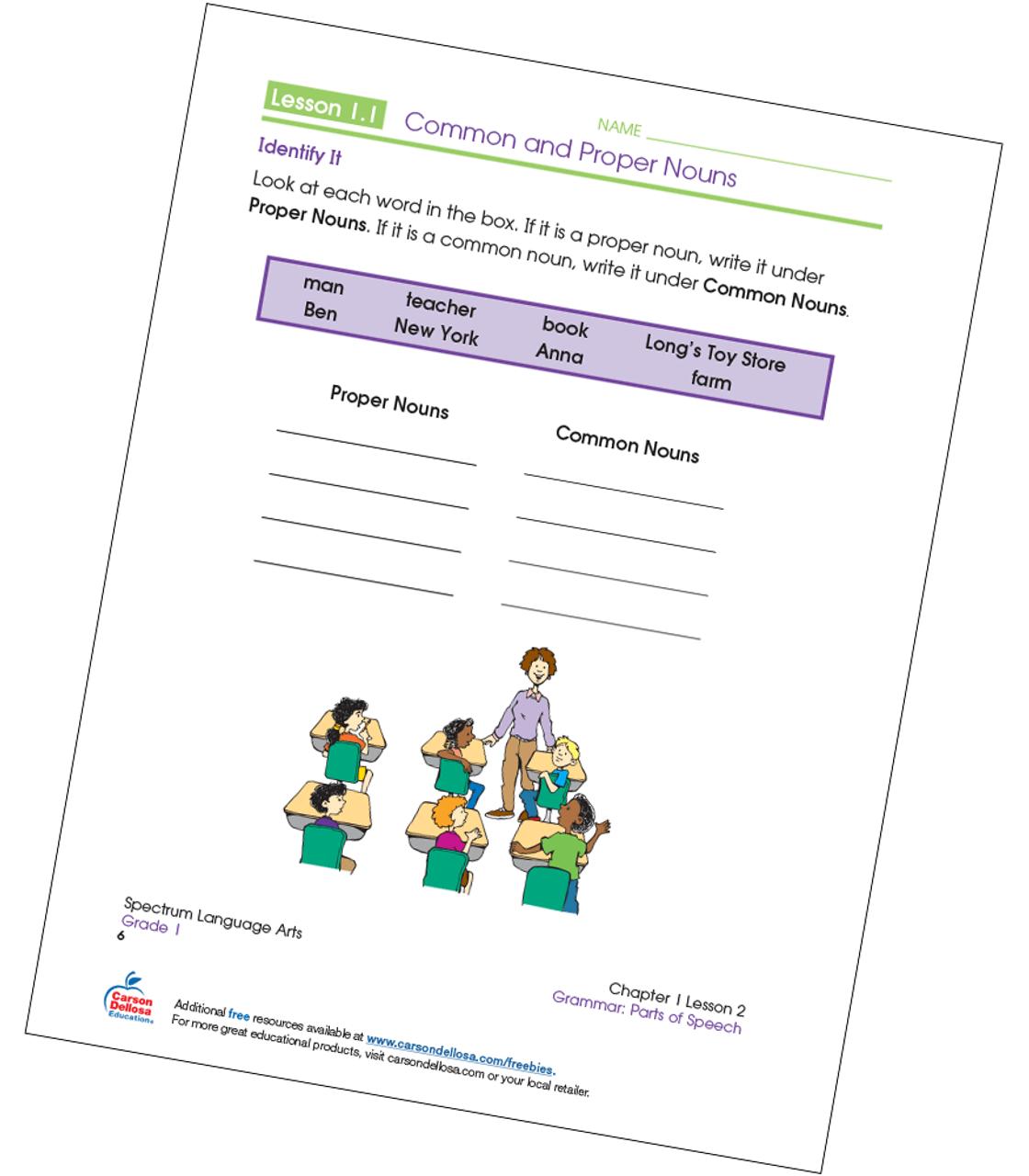 medium resolution of Identifying Common and Proper Nouns Grade 1 Free Printable   Carson Dellosa