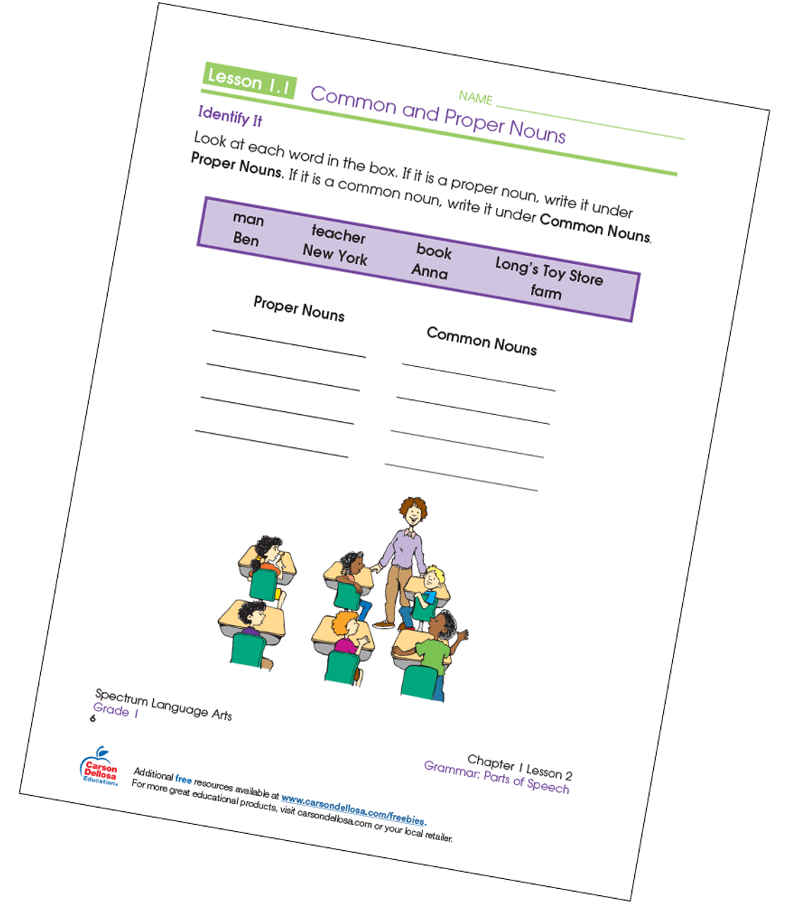 small resolution of Identifying Common and Proper Nouns Grade 1 Free Printable   Carson Dellosa