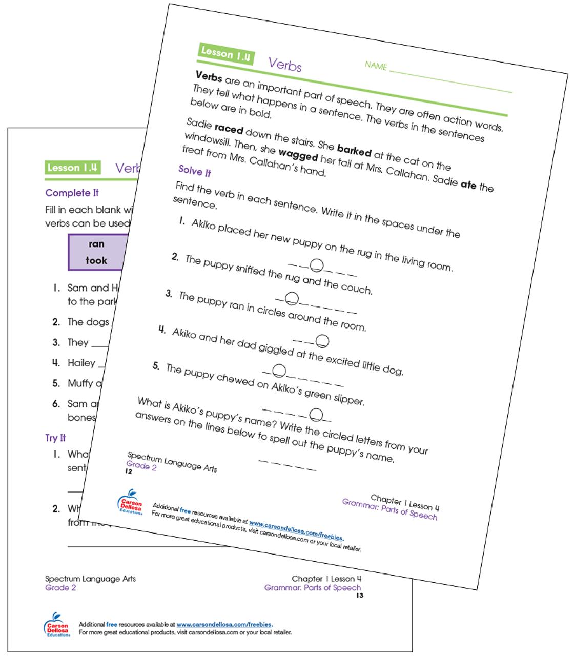 hight resolution of Identifying Verbs Grade 2 Free Printable   Carson Dellosa