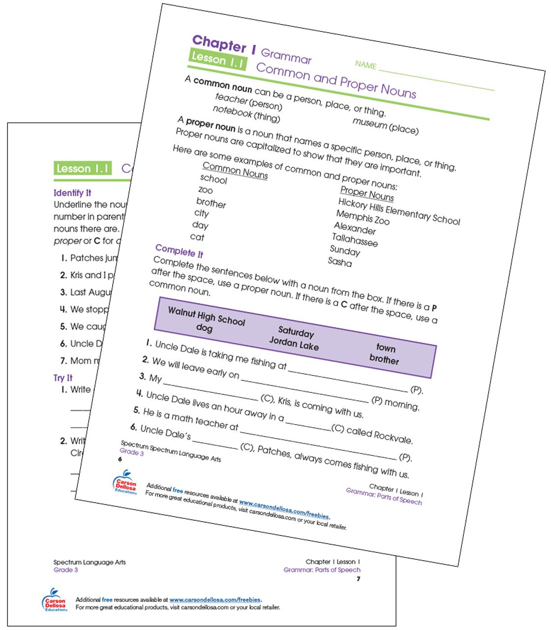Common and Proper Nouns Grade 3 Free Printable   Carson Dellosa [ 1280 x 1120 Pixel ]